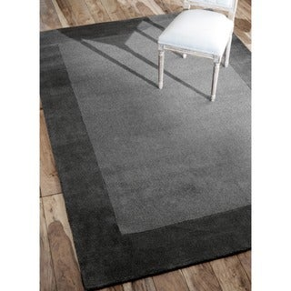 nuLOOM Hand-made Marrakesh Grey Border Wool Rug (6' x 9')