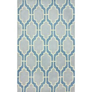nuLOOM Flatweave Modern Trelis Blue Wool Rug (7'6 x 9'6)