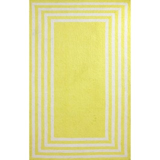 nuLOOM Stripe in Stripe Yellow Border Microfiber Rug (5' x 8')