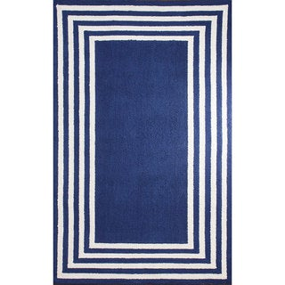 nuLOOM Stripe in Stripe Blue Border Rug (5' x 8')