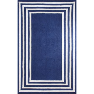 nuLOOM Stripe-in-stripe Blue Border Area Rug (5' x 8')