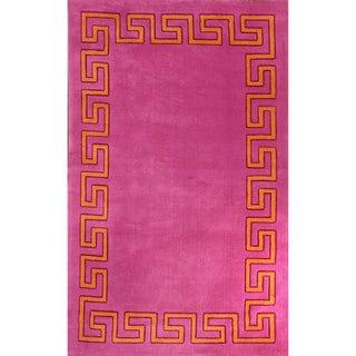 nuLOOM Modern Geo Border Pink Rug (5' x 8')