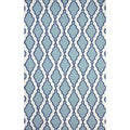 Flatweave Modern Trellis Lattice Light Blue Wool Rug (5' x 8')