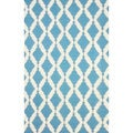 nuLOOM Flatweave Modern Trellis Lattice Teal Wool Rug (5' x 8')
