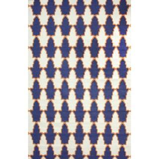 nuLOOM Flatweave Modern Trellis Navy Blue Wool Rug (7'6 x 9'6)