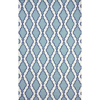 Flatweave Modern Trellis Lattice Light Blue Wool Rug (7'6 x 9'6)