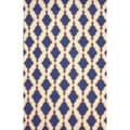 nuLOOM Flatweave Modern Trellis Lattice Navy Wool Rug (7'6 x 9'6)