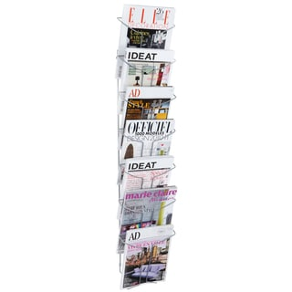Alba 7-compartment Chrome Wall Literature Display