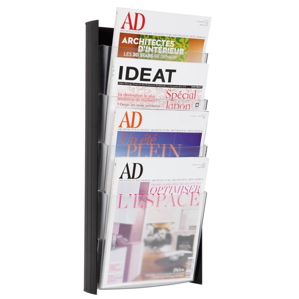 Alba 4-pocket Black A4 Wall Document Display