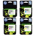 HP 932XL 933XL Black, Cyan, Magenta, Yellow Ink Cartridges (Pack of 4)