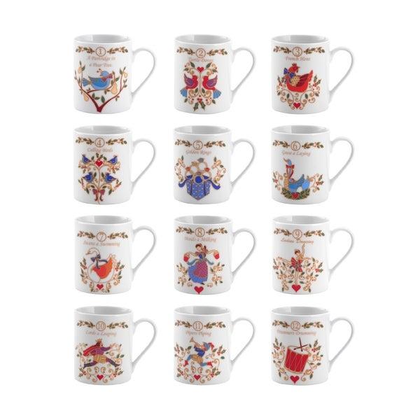 Mikasa '12 Days Of Christmas' Assorted 10-ounce Porcelain Mugs (Set of 12)