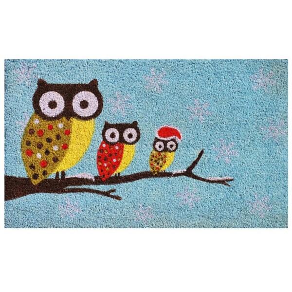 Cozy Owls Coir With Vinyl Back Doormat 1 5 X 2 5