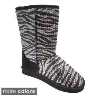 Blue Women's 'Eugena' Zebra Black Patterned Flat Boots
