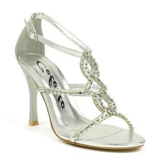 Celeste Women's 'Charlize-02' Rhinestone Metallic T-strap Heels