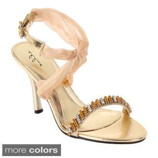 Ellie Women's '457-Paula' Ankle Wrap Rhinestone Heels