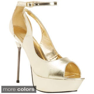 Ellie Women's '567-Loren' Metallic Stiletto Platform Heels