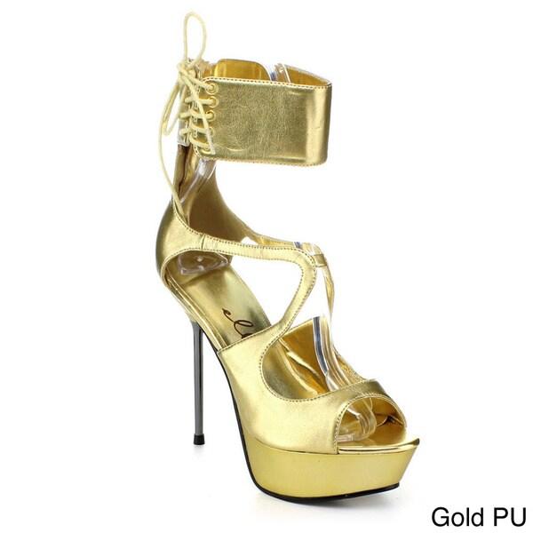 Ellie Women's '567-Petra' Metallic Ankle Cuff Chrome Heel Sandals