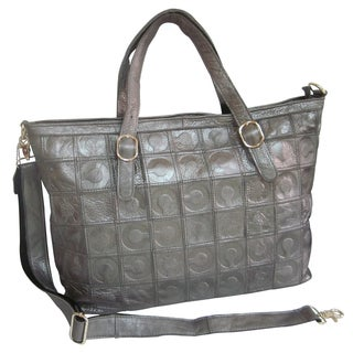 Amerileather Sterling Silver Foiled Leather Tote