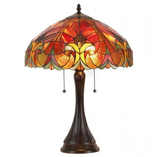 Tiffany-style Victorian 2-light Table Lamp with Glass Shade