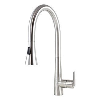 Eclipse Style Solid Stainless Steel Lead-free Single-handle Pull Out Sprayer Kitchen Mixer Faucet