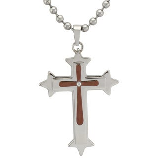 Stainless Steel Mens Diamond Accent Cross Necklace