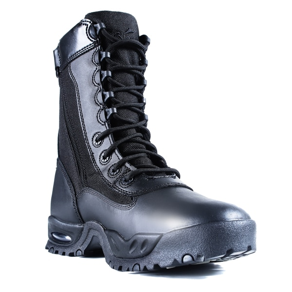 Men's Black Leather Zipper Steel Toe Work Boots