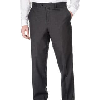 Adolfo Men's Slim Fit Charcoal Pencil Striped Pant Separates
