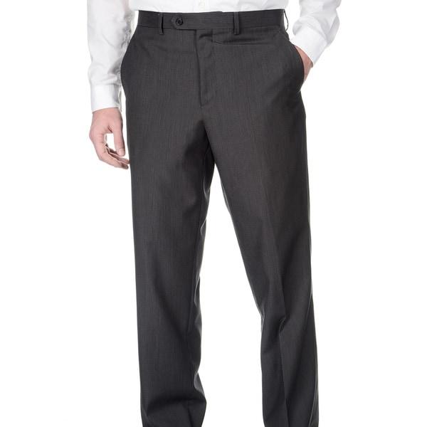 Adolfo Men's Slim Fit Charcoal Pencil Striped Pant Separates