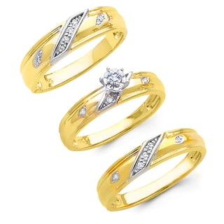 14k Gold 1/6ct TDW His and Hers Matching Diamond Wedding Ring Set (H-I, I1)