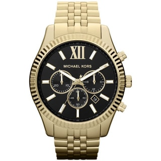 Michael Kors MK8286 Lexington Chronograph Black Dial Gold-Tone Watch