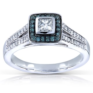 Annello 14k White Gold 1/2ct TDW Blue and White Princess-cut Diamond Ring (H-I, I1-I2)