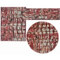 Tilted Squares Collection Red Rug 3pc Set by Nourison (2'2 x 7'3) (3'11 x 5'3) (5'3 x 5'3 Round)