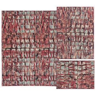 Tilted Squares Collection Red Rug 3pc Set by Nourison (3'11 x 5'3) (5'3 x 7'3) (7'10 x 10'6)