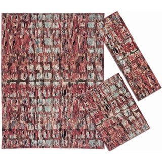 Tilted Squares Collection Red Rug 3pc Set by Nourison (2'2 x 7'3) (3'11 x 5'3) (7'10 x 10'6)