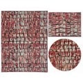 Tilted Squares Collection Red Rug 3pc Set by Nourison (3'11 x 5'3) (5'3 x 5'3 Round) (7'10 x 10'6)