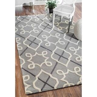 nuLOOM Handmade Modern Lattice Grey Wool Rug (7'6 x 9'6)
