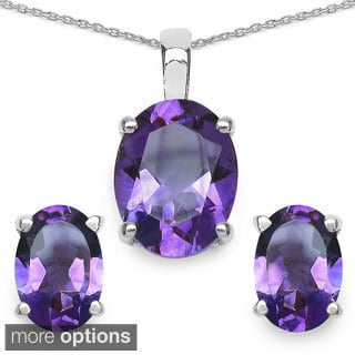 Sterling Silver Oval-cut Genuine Gemstone Set with Bonus Set