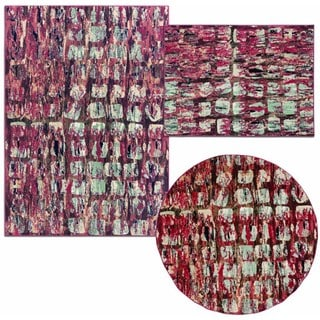 Tilted Squares Collection Red Rug 3pc Set by Nourison (3'11 x 5'3) (5'3 x 5'3 Round) (5'3 x 7'3)
