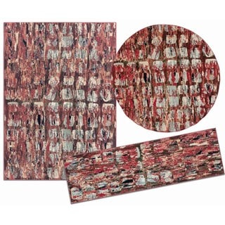 Tilted Squares Collection Red Rug 3pc Set by Nourison (2'2 x 7'3) (5'3 x 5'3 Round) (5'3 x 7'3)