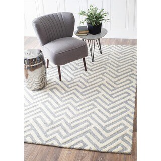 nuLOOM Handmade Geo Shapes Grey Wool Rug (5' x 8')