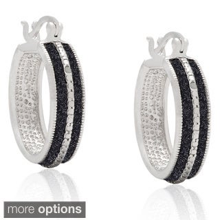Finesque Silverplated Diamond Accent Hoop Earrings