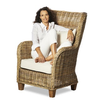 Natural Rattan King Lounger with Cushions