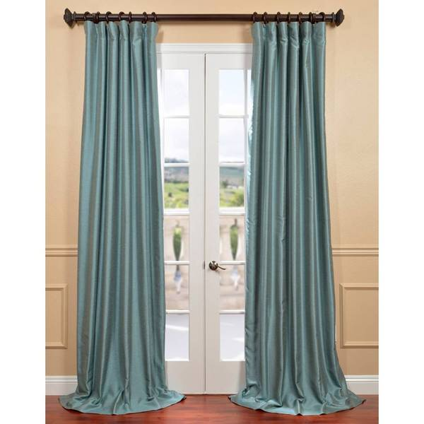 Blue Agave Yarn Dyed Faux Dupioni Silk Curtain Panel