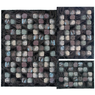 Cobble Stone Collection Charcoal Rug 3pc Set by Nourison (3'11 x 5'3) (5'3 x 7'3 (7'10 x 10'6)