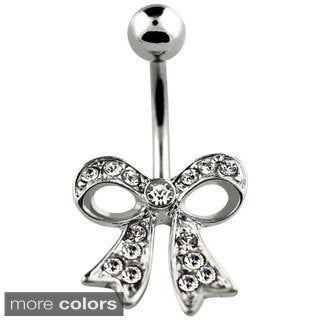 Surgical Steel Crystal Bow Belly Button Ring