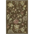 Hand-tufted Lawrence Brown Floral Wool Rug (2' x 3')