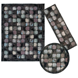 Cobble Stone Collection Charcoal Rug 3pc Set by Nourison (2'2 x 7'3) (5'3 x 5'3 Round) (7'10 x 10'6)