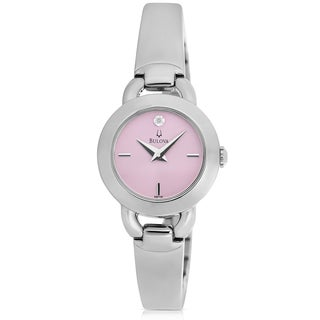 Bulova Women's Pink Dial Diamond Accented Watch