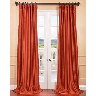 Blood Orange Yarn Dyed Faux Dupioni Silk Curtain Panel
