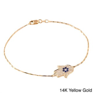 Beverly Hills Charm 14k Gold 1/4ct TDW Diamond and Blue Sapphire Hamsa Bracelet (H-I, SI2,I1)
